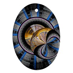 Fractal Tech Disc Background Oval Ornament (two Sides) by Simbadda