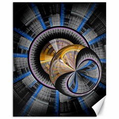 Fractal Tech Disc Background Canvas 11  X 14   by Simbadda