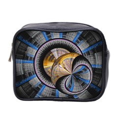 Fractal Tech Disc Background Mini Toiletries Bag 2 Side by Simbadda