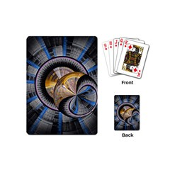 Fractal Tech Disc Background Playing Cards (mini)  by Simbadda