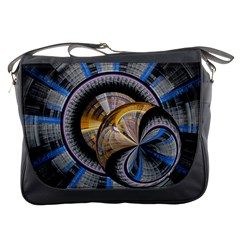 Fractal Tech Disc Background Messenger Bags by Simbadda