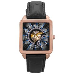 Fractal Tech Disc Background Rose Gold Leather Watch  by Simbadda