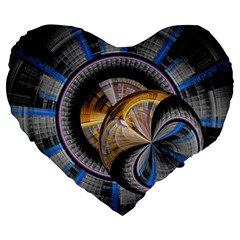 Fractal Tech Disc Background Large 19  Premium Flano Heart Shape Cushions by Simbadda