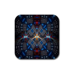 Fancy Fractal Pattern Rubber Square Coaster (4 Pack)  by Simbadda