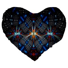 Fancy Fractal Pattern Large 19  Premium Heart Shape Cushions by Simbadda
