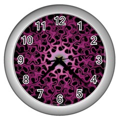 Cool Fractal Wall Clocks (silver)  by Simbadda