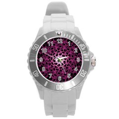 Cool Fractal Round Plastic Sport Watch (l) by Simbadda