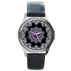 Fractal Lace Round Metal Watch by Simbadda