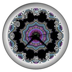 Fractal Lace Wall Clocks (silver)  by Simbadda