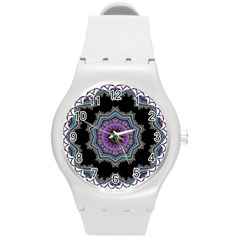 Fractal Lace Round Plastic Sport Watch (m) by Simbadda