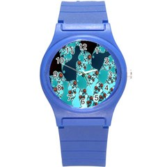 Decorative Fractal Background Round Plastic Sport Watch (s) by Simbadda