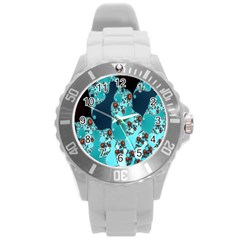 Decorative Fractal Background Round Plastic Sport Watch (l) by Simbadda