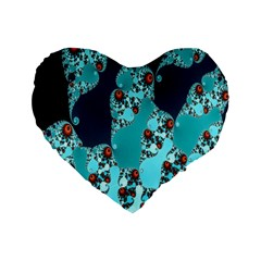 Decorative Fractal Background Standard 16  Premium Flano Heart Shape Cushions by Simbadda