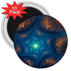Fractal Star 3  Magnets (10 Pack)  by Simbadda