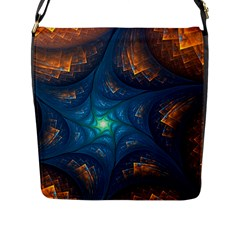 Fractal Star Flap Messenger Bag (l)  by Simbadda