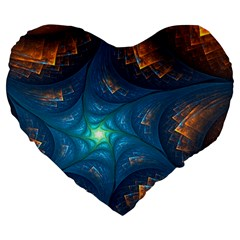 Fractal Star Large 19  Premium Flano Heart Shape Cushions by Simbadda
