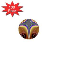 Symmetric Fractal 1  Mini Buttons (100 Pack)  by Simbadda