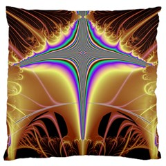 Symmetric Fractal Large Flano Cushion Case (one Side) by Simbadda