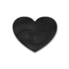 Distorted Net Pattern Rubber Coaster (heart)  by Simbadda