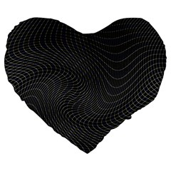 Distorted Net Pattern Large 19  Premium Heart Shape Cushions by Simbadda
