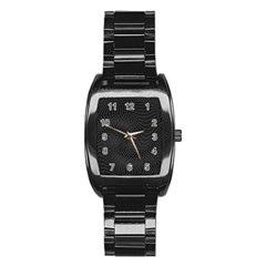 Distorted Net Pattern Stainless Steel Barrel Watch by Simbadda