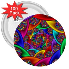 Color Spiral 3  Buttons (100 Pack)  by Simbadda