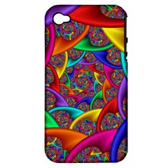 Color Spiral Apple Iphone 4/4s Hardshell Case (pc+silicone) by Simbadda