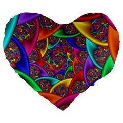 Color Spiral Large 19  Premium Heart Shape Cushions by Simbadda