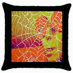Orange Guy Spider Web Throw Pillow Case (black) by Simbadda