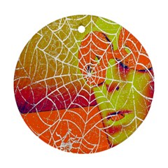 Orange Guy Spider Web Round Ornament (two Sides) by Simbadda