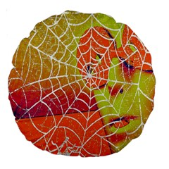 Orange Guy Spider Web Large 18  Premium Round Cushions by Simbadda