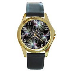 Beautiful Curves Round Gold Metal Watch by Simbadda