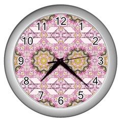 Floral Pattern Seamless Wallpaper Wall Clocks (silver)  by Simbadda