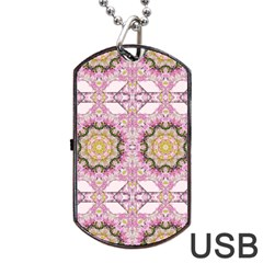 Floral Pattern Seamless Wallpaper Dog Tag Usb Flash (one Side) by Simbadda