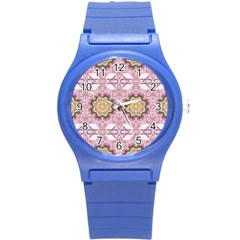 Floral Pattern Seamless Wallpaper Round Plastic Sport Watch (s) by Simbadda