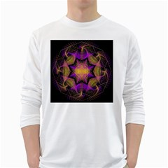 Pattern Design Geometric Decoration White Long Sleeve T Shirts by Simbadda