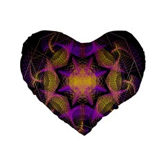 Pattern Design Geometric Decoration Standard 16  Premium Flano Heart Shape Cushions by Simbadda