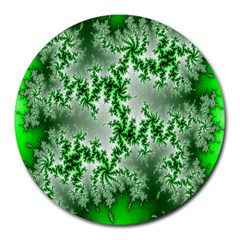 Green Fractal Background Round Mousepads by Simbadda
