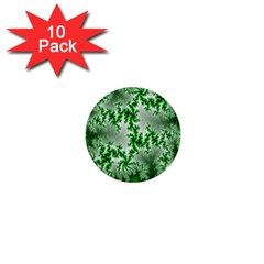 Green Fractal Background 1  Mini Buttons (10 Pack)  by Simbadda