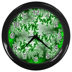Green Fractal Background Wall Clocks (black) by Simbadda