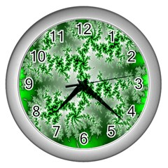 Green Fractal Background Wall Clocks (silver)  by Simbadda
