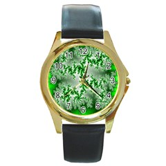 Green Fractal Background Round Gold Metal Watch by Simbadda