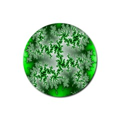 Green Fractal Background Rubber Coaster (round)  by Simbadda