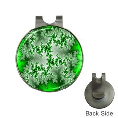 Green Fractal Background Hat Clips With Golf Markers by Simbadda