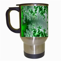 Green Fractal Background Travel Mugs (white) by Simbadda
