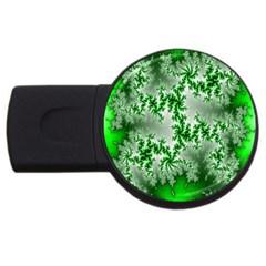 Green Fractal Background Usb Flash Drive Round (4 Gb) by Simbadda