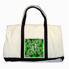 Green Fractal Background Two Tone Tote Bag by Simbadda