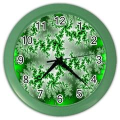 Green Fractal Background Color Wall Clocks by Simbadda