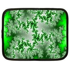 Green Fractal Background Netbook Case (large) by Simbadda