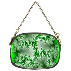 Green Fractal Background Chain Purses (one Side)  by Simbadda